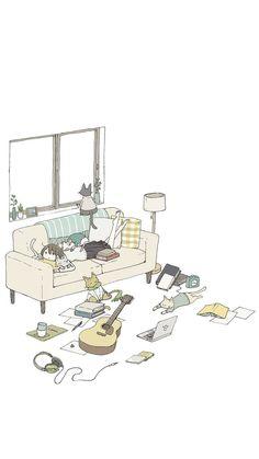 56 ideas for cute cars illustration art Wallpaper Gallery, Cat Wallpaper, Trendy Wallpaper, Kawaii Wallpaper, Cartoon Wallpaper, Cat Drawing, Life Drawing, Drawing Ideas, Drawing Quotes