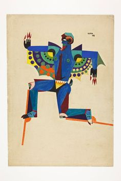 "Almada Negreiros (Portogallo, Figurino para o bailado ""a princesa dos sapatos de ferro"" 1918 Sonia Delaunay, Cubism Art, Art File, Paint Designs, Drawing S, Illustrators, Cool Art, Mosaic, Sculptures"