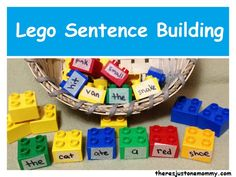 Lego Sentence Building activity -- help kids learn different parts of speech, sentence structure and reading skills