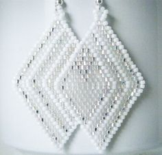 My Icy Heart Diamond Weave Earrings by DazzleMeGems on Etsy