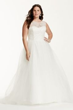 All eyes will be on you as you walk down the aisle in this stunning ball gown!  Cap sleeve tulle ball gown features ultra-feminine illusion boatneck.  Bodice is adorned with beaded lace appliques.  Chapel train. Sizes 16W-26W.  Available in stores and online in Ivory.  Fully lined. Back zip. Imported. Dry clean only.  Missy: Style WG3672. Sizes 0-14.  Available in store and online.  To preserve your wedding dreams, try our Wedding Gown Preservation Kit.