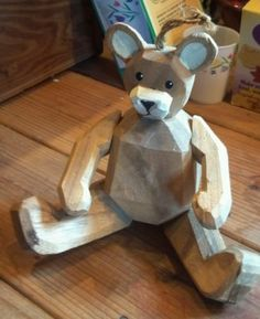 Vintage Fully Jointed Hand Carved Wooden Teddy Bear