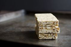 No-Bake Toasted Coconut, Date, and Nut Bars - Use Almonds instead of Cashews & find something to use instead of the dates.