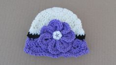 Crochet Flower Hat, Baby Girl Clothes, Newborn Girl Purple Beanie, Baby Photo Prop, Toddler Flower Hat, Baby Skull Cap, Spring Hat, Purple by TheFlyButterFactory on Etsy