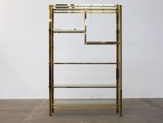 Brass Etagere or Showcase Vitrine in the Style of Romeo Rega 2