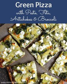 Green Pizza with Pesto, Feta, Artichokes & Broccoli . a delicious vegetarian pizza recipe! easy veggie pizza packed with healthy toppings and tons of flavor. Make this easy vegetarian pizza recipe tonight Veggie Dishes, Veggie Recipes, Cooking Recipes, Healthy Recipes, Recipes With Pesto, Skillet Recipes, Cooking Gadgets, Pasta Dishes, Delicious Recipes