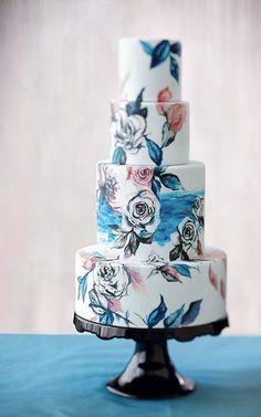 Painted floral wedding cake  #weddingcake #weddinginspiration
