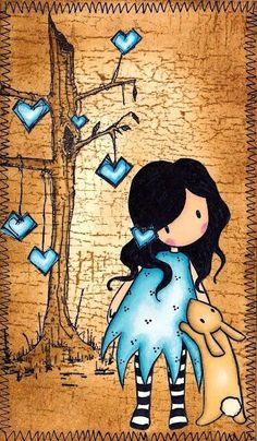Playing with a new Gorjuss stamp, and new Promarkers. Background is distress inked using Frayed Burlap. The tree and the hearts stamp ar. Art And Illustration, Illustrations, Decoupage, Whimsical Art, Tag Art, Medium Art, Cute Drawings, Clipart, Cute Art