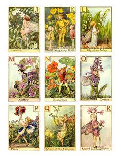 Vintage Alphabet Fairies Digital Collage door CuriousCrowDigital j t/m r