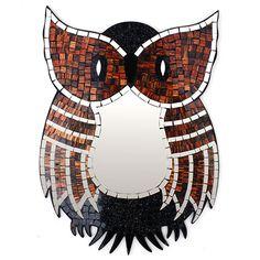 Large Owl Mosaic Mirror