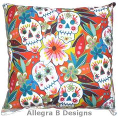 Day Of The Dead Throw Pillow Sugar Skulls Cushion Rockabilly Home Decor On Etsy Sold