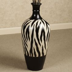 Zebra Vase for guest bathroom (African theme)