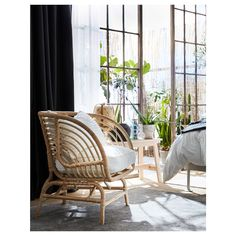 Made of hand-woven rattan, a living material that makes each armchair unique. A great way to invite nature into your home. Rattan Headboard, Daybed, Rattan Armchair, White Armchair, Bright Rooms, Natural Materials, Bed Frame, Flooring, Interior Design