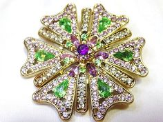 BIG Vintage Retro Estate Gold Tone Crystal Rhinestone Brooch Pin RARE!