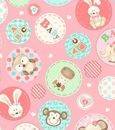 Nursery Fabric- Girls Animals Circles Pink: nursery fabric: fabric: Shop | Joann.com