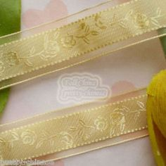 5 Yards Gold Rose Flower Organza Ribbons Sewing Trimming Craft New