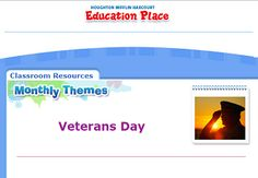 """This is an image from this resource on the Internet4Classrooms' """"Veterans Day at Internet 4 Classrooms"""" resource page:    Veterans Day Resources.    This is a monthly theme for Education Place. It includes a persuasive  writing prompt and a variety of activities for multiple grades."""