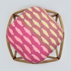 Zebra pattern in Freshly Squeezed colours. Ikat Diamond Stool from Above. Ethical production of Furniture and homeware from MITSEIN