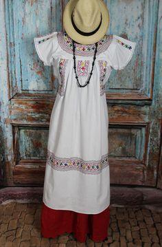 White Embroidered Dress, Albarradas Oaxaca Mexico Hippie Boho Santa Fe Style #Handmade #Dress
