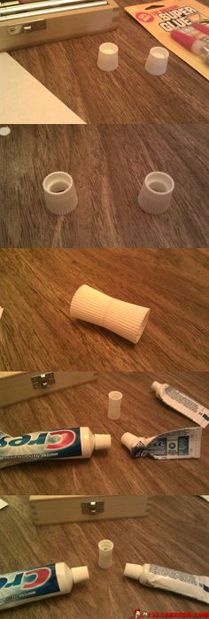 Drill holes in tops of two toothpaste caps. Superglue tops together. Use to combine contents of two tubes.