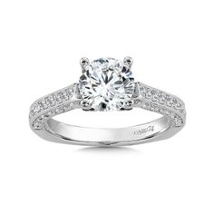 - Diamond Engagement Ring with Side Stones in White Gold with Platinum Head ct. Classic Engagement Rings, Engagement Ring Styles, Diamond Wedding Rings, Diamond Engagement Rings, Engagement Ring Jewelers, Fashion Rings, Halo, Gemstone Rings, Stones