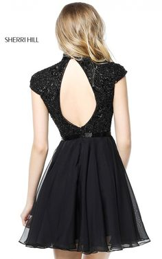 Sherri Hill 51275 Black Short Cap Sleeve Homecoming Dress