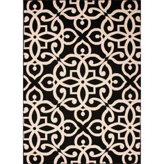 Hand Made Black Ink 4 ft. x 5 ft. 3 in. Geometric Area Rug, Black Ink/Brown