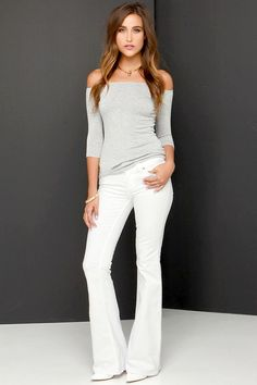 Dittos Christine White Flare Jeans with Off Shoulder Top