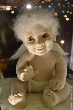 Ангел Арсений - кремовый,войлок,войлочная игрушка,шерсть,шерсть 100%,ангел