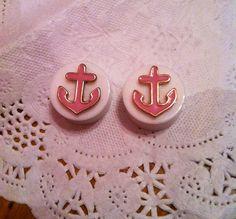 """Pink Anchor Gauges Plugs 5/8"""" 16mm White Gold Pink. $15.99, via Etsy."""