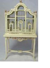 Bespaq Dollhouse miniature furniture hand painted Birdcage/table with birds New