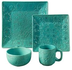 ⚜️ Add charm to your home with HiEnd Accents Savannah Western Dinnerware Set, Dinner Salad oz, Soup Turquoise from Square Dinnerware Set, Dinnerware Sets, Stoneware Dinnerware, Rustic Dinnerware, Verde Tiffany, Tiffany Blue, Cooler Stil, Shades Of Turquoise, Red Turquoise