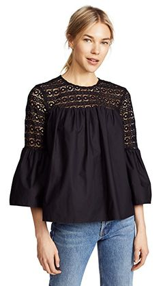 Charming crochet forms the sheer yoke and sleeve panels of this breezy endless rose blouse. Button back keyhole. Boho Fashion Over 40, Stylish Mens Fashion, Black Women Fashion, Womens Fashion, Fashion Edgy, Fashion Fall, Style Fashion, Stylish Menswear, Man Fashion