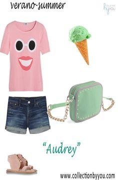 """Nuestro """"Audrey"""" personalizado en piel menta y rosa ideal para este veranito. Diseña el tuyo en www.collectionbyyou.com"""