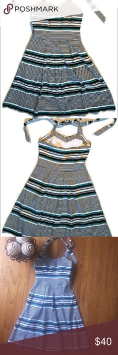WHBM Striped halter with bluish green This is a side zipping black white and bluish green halter. No flaws. 28 inches flat White House Black Market Dresses Midi