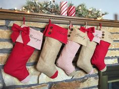 Burlap, red and candy stripe Personalized Christmas Stockings. Matching tree skirt also available for purchase. Embroidery included in price Candy Stripes, Red Stripes, Embroidered Christmas Stockings, Kids Stockings, Ruffle Fabric, Christmas Items, Tree Skirts, Holiday Decor, Pillows
