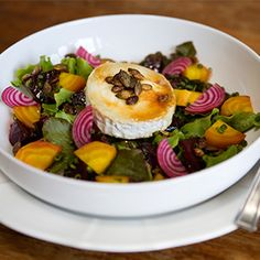 Beetroot, Caramelised Goat's Cheese & Pumpkin Seed Salad by Karen Austin. | This grey flavour combination makes for a heavenly lunch.