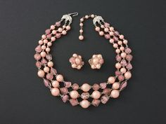 Vintage Trifari Triple Strand Pink Frosted Bead Demi from ShinyShelly