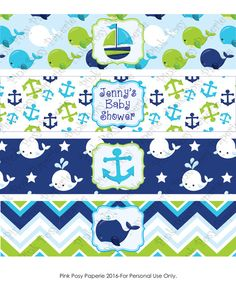 printable whale boy baby shower water bottle wrappers