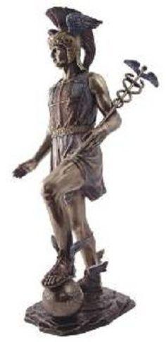 "13"" Mercury Greek God Hermes Statue Roman Wealth Trade Messenger Sculpture"