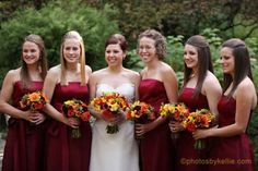 lovely fall bouquet and bridesmaid dress combo!