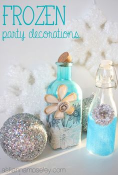 """I'm sharing 2 simple tutorials to make FROZEN party decorations using glass bottles and a few other craft supplies. You'll love how """"frozen"""" they turned out! Disney Frozen Party, Frozen Theme Party, Frozen Birthday Party, Girl Birthday Themes, 18th Birthday Party, Birthday Ideas, Frozen Party Decorations, Party Centerpieces, Frozen Room"""