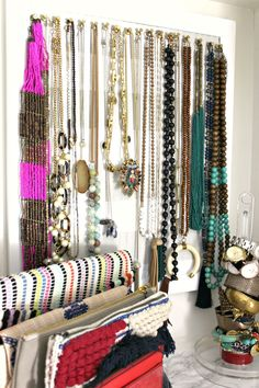 This fun master closet has the perfect amount of feminine touches mixed with organization. So many fun boutique details. All on a budget! Closet Organization, Storage Organization, Organizing, Cozy Home Decorating, Womens Closet, Trends, Master Closet, Cozy House, Getting Organized