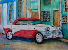 Cityscape depicting red and white 1957 Buick automobile in old Havana,Cuba. (Vieja Habana)  Size 12 inches wide X 9 inches deep. Acrylics on stretched watercolor paper. This colorful  original painting will be shipped ready to hang in a clear plastic 'photo type' box frame same size as art. Signed and dated lower left area. COA-Certificate of Authenticity will be sent with shipment. Created by Jeff Sterling,Florida and La Rochelle,France artist. …