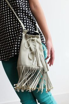 MK Totem, amber fringe suede bag & super cute, teal jeans from Genetic Denim!!  What a fun Spring outfit!