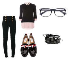 """""""Nerdy stud"""" by thatgirlsamy ❤ liked on Polyvore featuring Balmain, Dorothy Perkins and Thom Browne"""
