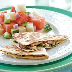Chicken, Mushroom, and Gruyere Quesadillas      Photo: Becky Luigart-Stayner; Styling: Leigh Ann Ross  Build on the traditional Mexican classic by adding fun new ingredients like sliced mushrooms and a different creamy cheese. Watermelon-jicama salad is a refreshing side dish for this easy summer dish.