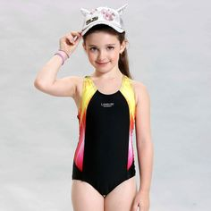 2016 children training swimwear kids swimming racing suit competition swimsuits girls professional swim solid child