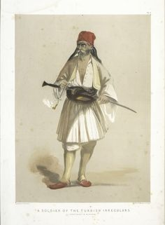 A Soldier of the Turkish Irregulars (Sketched in Albania) - NYPL Digital Collections Turkey History, Turkish Soldiers, Muslim Culture, Character Costumes, Ottoman Empire, New York Public Library, Cool Costumes, Still Image, Macedonia