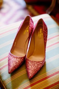 Kate Spade heels, glam wedding shoes, pink glitter, sassy & sophisticated // Caroline Studios